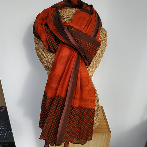 Foulard pois coton rouge et orange