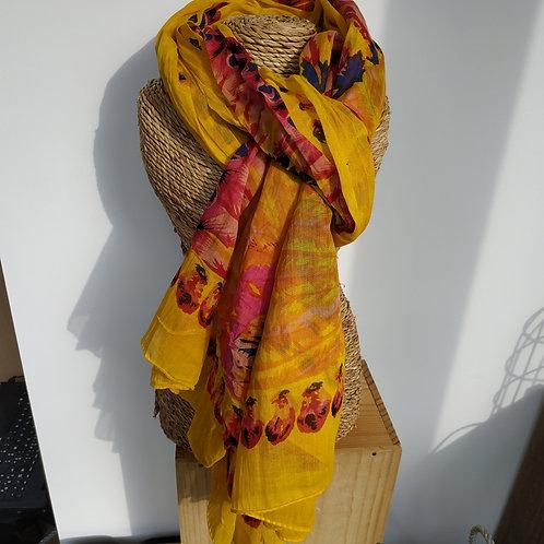 Foulard jaune et fleur