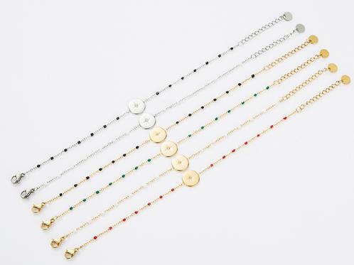 Bracelet acier chaine et perle boussole - or/blanc