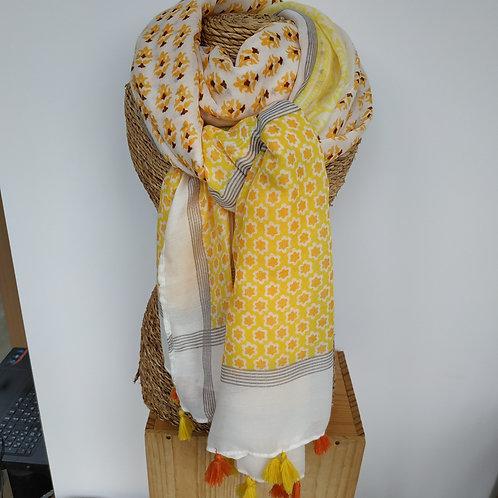 Foulard pompon jaune et orange