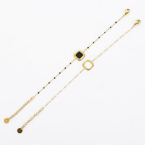 Bracelet acier chaine et perle carré - or/blanc
