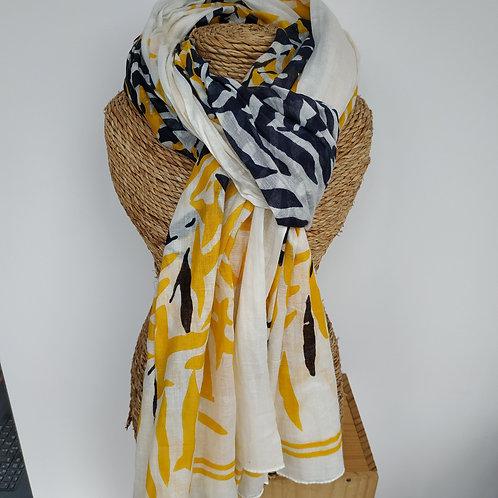 "Foulard ""tropical"" jaune et bleu marine"