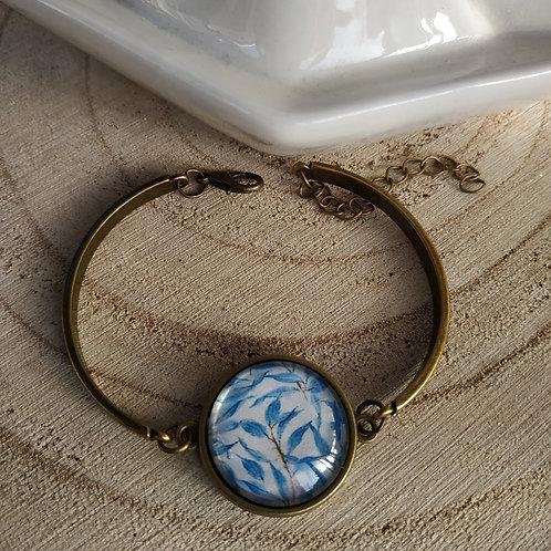 Bracelet semi rigide cabochon couleur bronze
