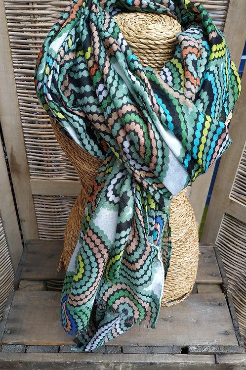 Foulard multi couleur vert