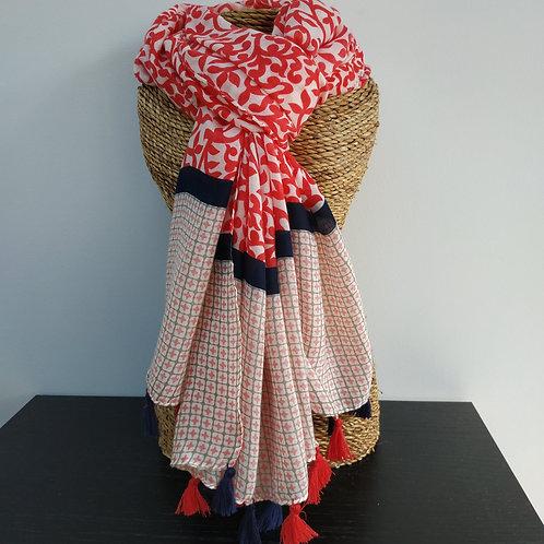 Foulard pompons, rouge et marine