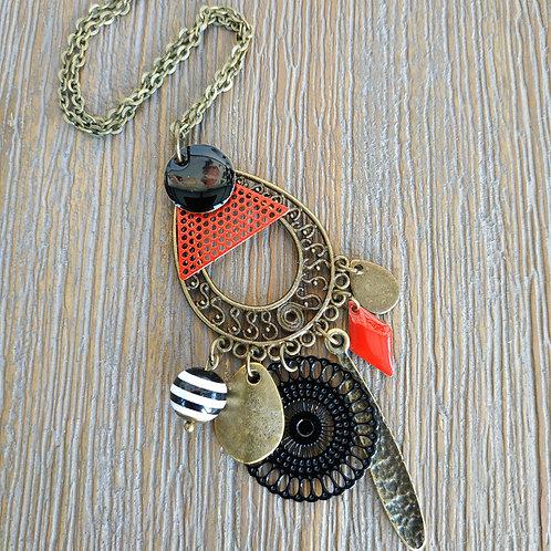 Collier sequin et pendant couleur bronze