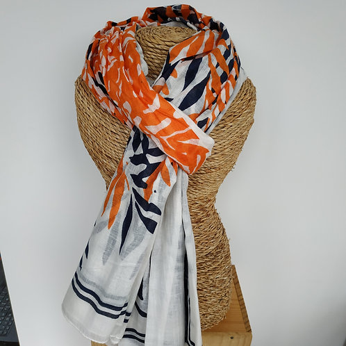 """Foulard """"tropical"""" orange et bleu marine"""