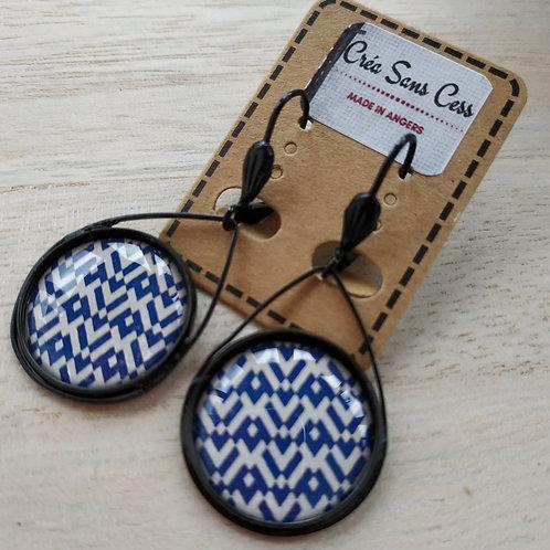 Boucles d'oreilles acier noir