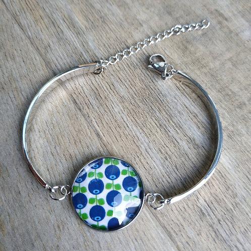 Bracelet semi rigide cabochon couleur argent