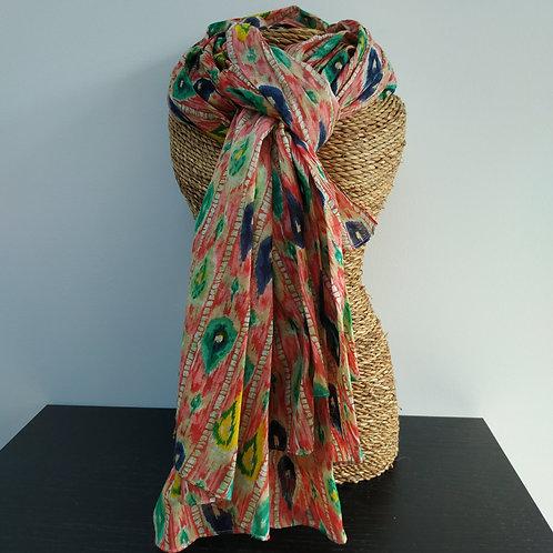 Foulard chèche petites flammes colorées