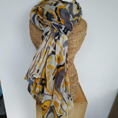 Foulard jaune et gris
