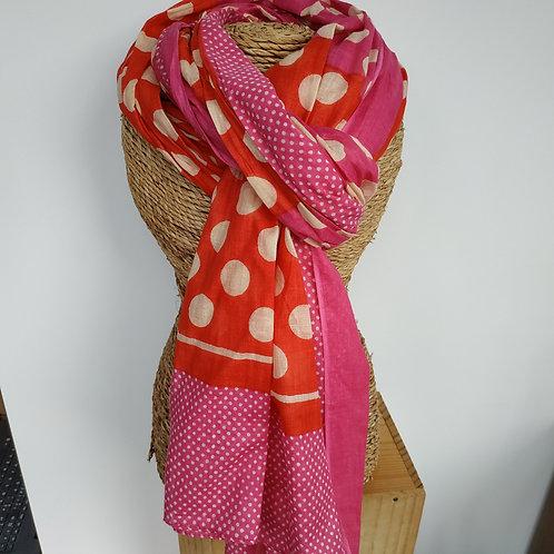 Foulard pois coton rose et rouge