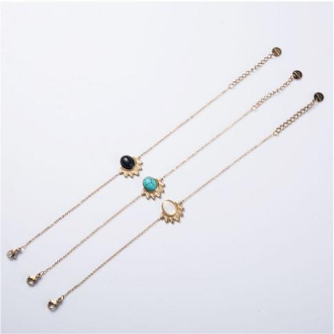 Bracelet acier chaine et perle - or/noir