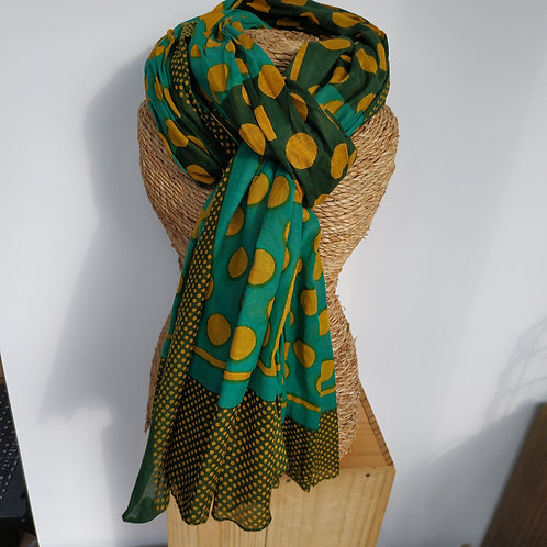 Foulard pois coton moutarde et vert