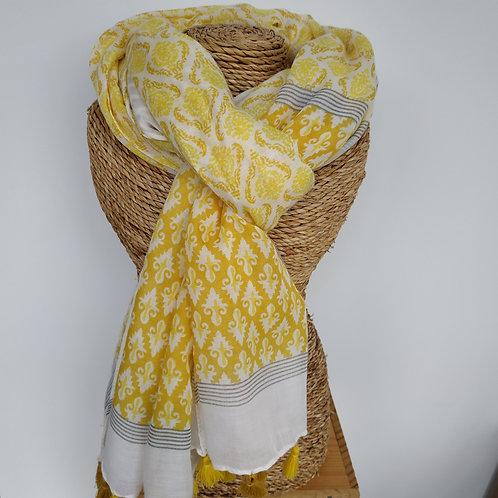 Foulard pompon jaune