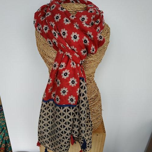 Foulard pompon rouge et marine