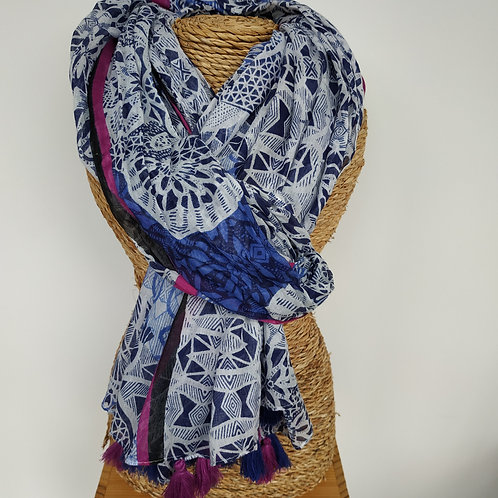 Foulard bleu et violet