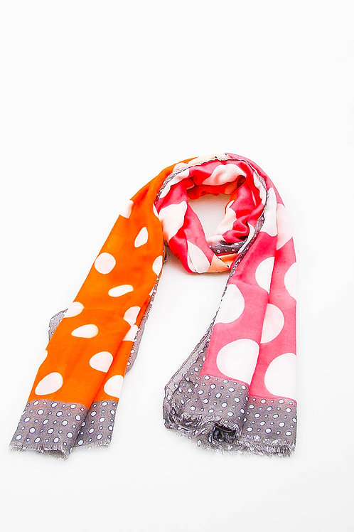 Foulard pompons pois rose et orange