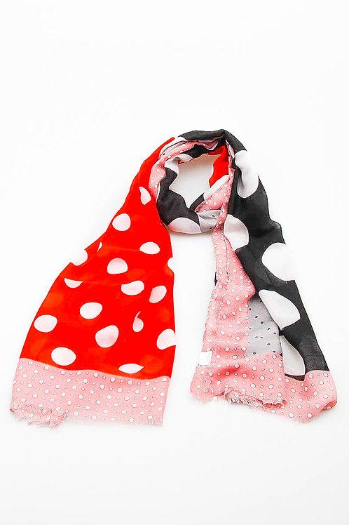 Foulard pompons pois rose et rouge