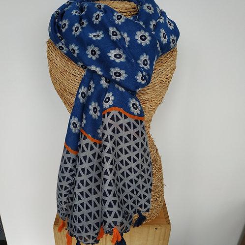Foulard pompon marine et orange