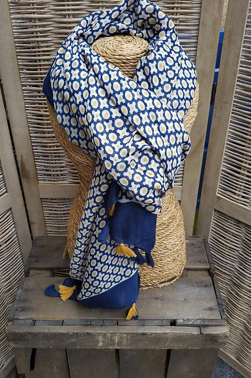Foulard bleu et jaune