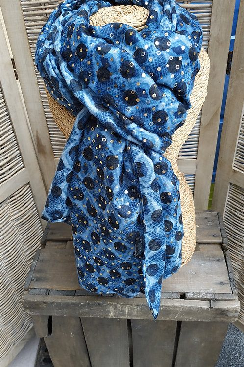 Foulard bleu et doré