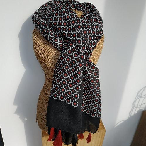 Foulard pompon noir et rouge