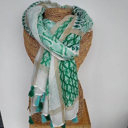 Foulard pompon vert