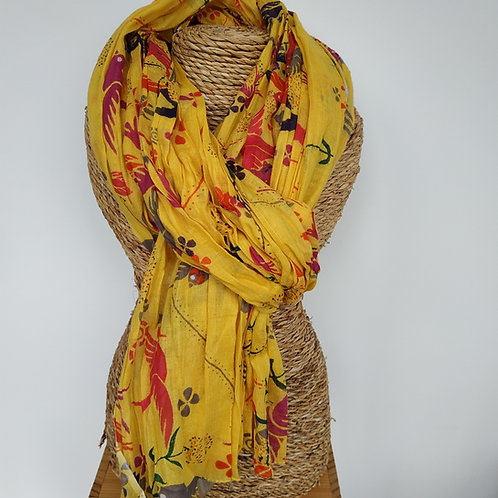 Foulard tropical jaune