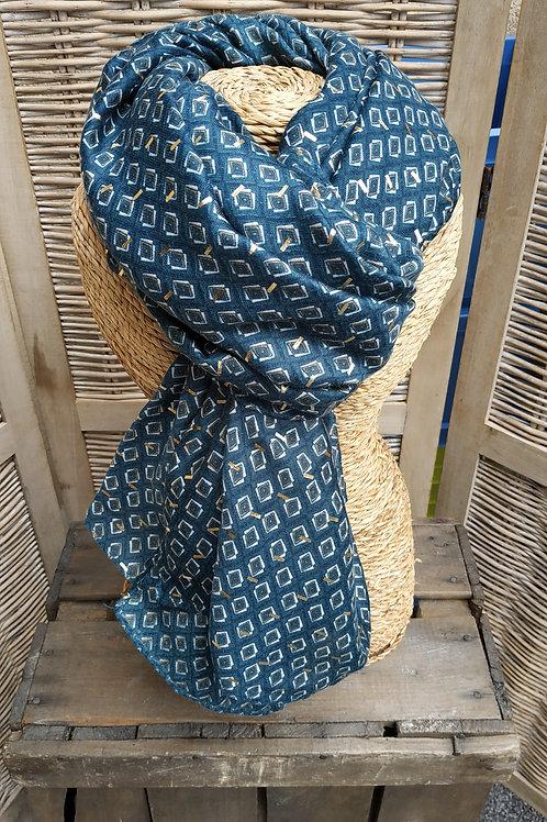 Foulard bleu canard et doré