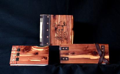 Sketchbooks Prototypes. Handmade wooden sketchbook covers.