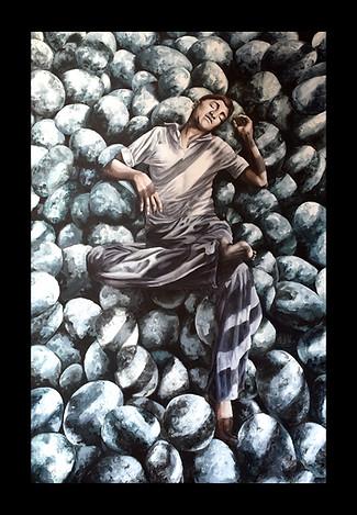 Study in Chromatic Glazing. Man lying on round rocks.