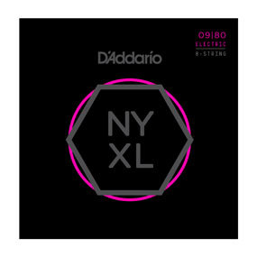 NYXL0980 Nickel Wound 8-String Electric Guitar Strings, Super Light, 09-80