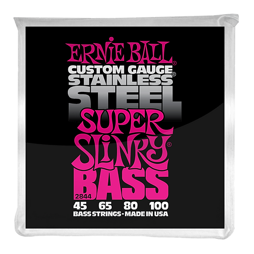 SUPER SLINKY STAINLESS STEEL ELECTRIC BASS STRINGS - 45-100 GAUGE