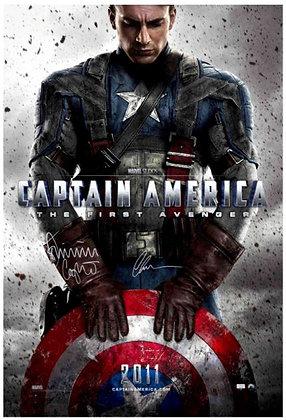 Chris Evans / Dominic Cooper 27x40 Captain America Poster   Celebrity Authentics