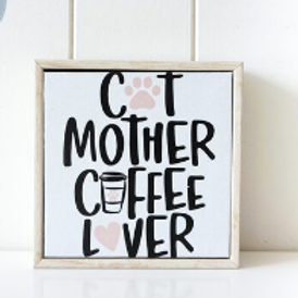 """""""Cats and Coffee"""" Framed Canvas"""