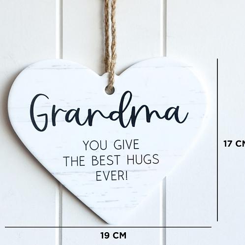 """""""Best Hugs Grandma""""hanging wall plaque"""