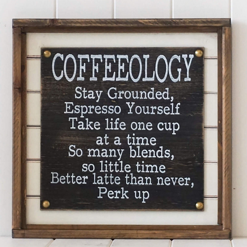 """""""Coffeeology""""timber box wall art"""