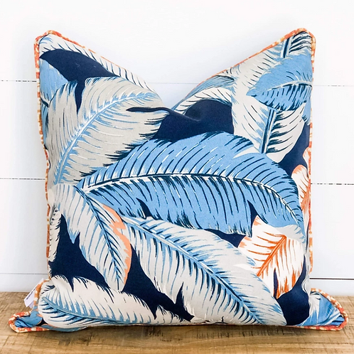 Tropical Palms with multicolour piping Outdoor Cushion