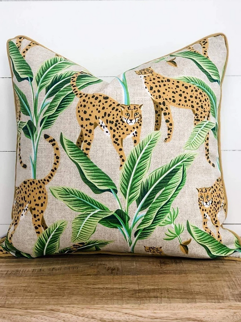 Jungle Cats with Gold Piping Outdoor Cushion
