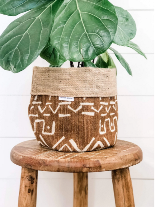 Bronzed Mudcloth Pot Plant Cover