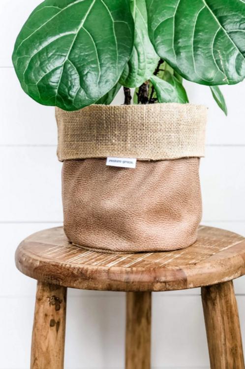 Caramel Faux Pot Plant Cover