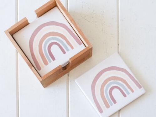 """Rainbow Blush"" Ceramic Coasters"