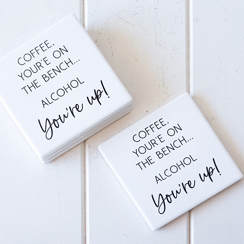 """""""Coffee Benched"""" Ceramic Coasters"""