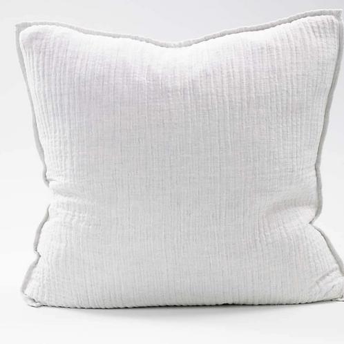 Eadie Sea Foam Linen Cushion - Soft Blue White