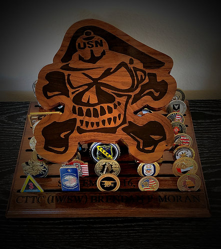 Navy Chief Skull Challenge Coin Display