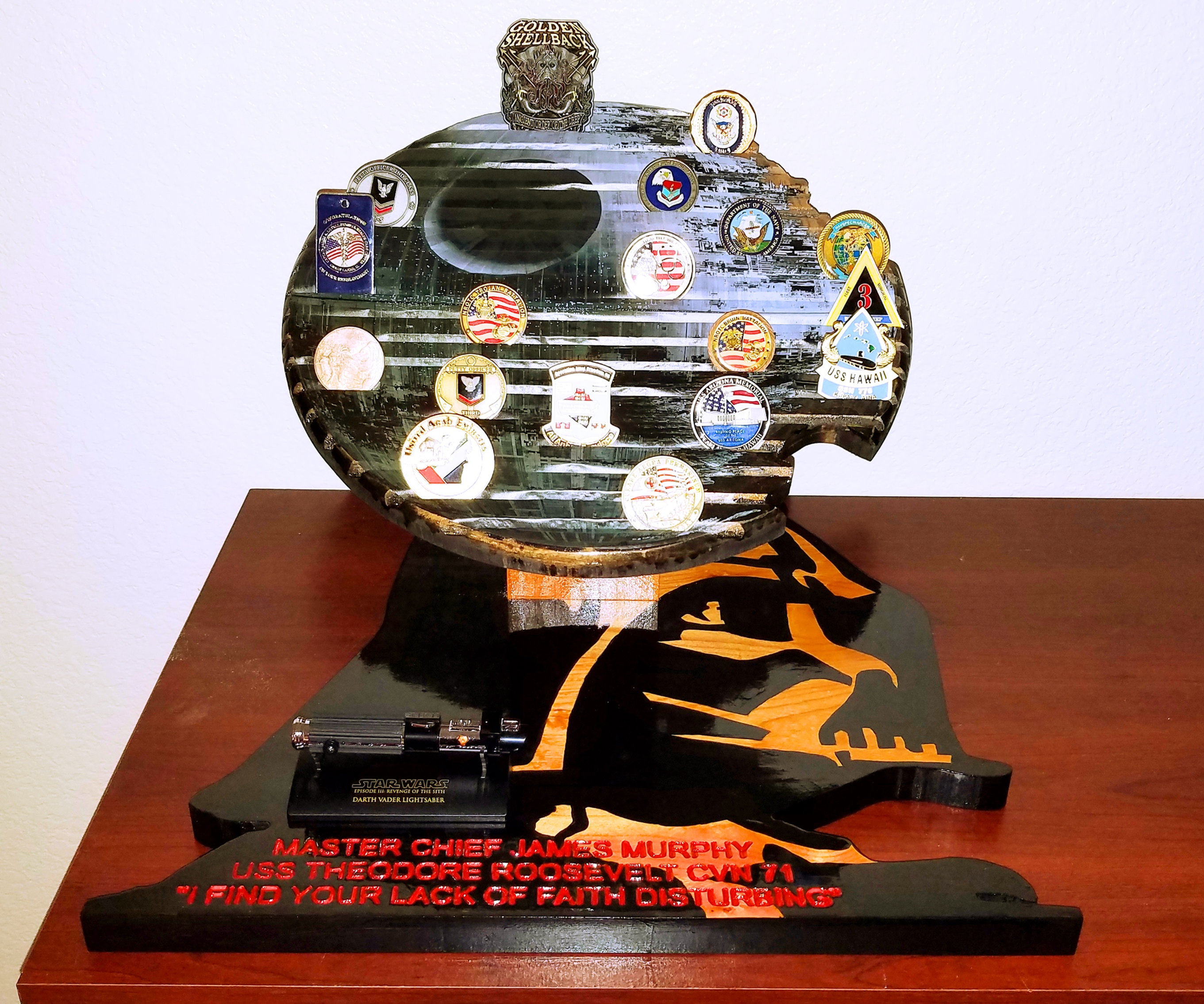 Death Star and Darth Vader Challenge Coin Holder | J & M's Working Wood