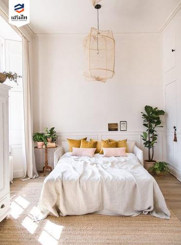 ห้องนอนสไตล์มินิมอล โทนสีขาว