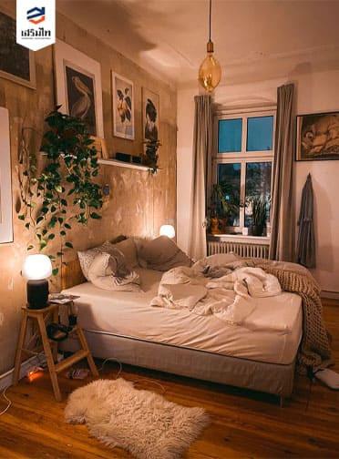 ห้องนอนสไตล์มินิมอล โทนสีน้ำตาล