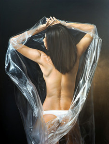 LADY COVERED IN PLASTIC